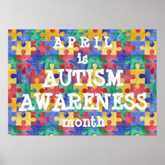 自閉症の認識度月のパズルポスター ポスター