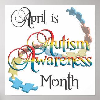 自閉症の認識度月ポスター芸術 ポスター