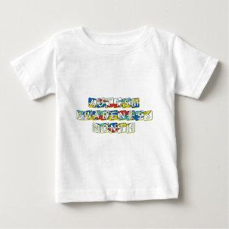 自閉症の認識度月- 4月 ベビーTシャツ
