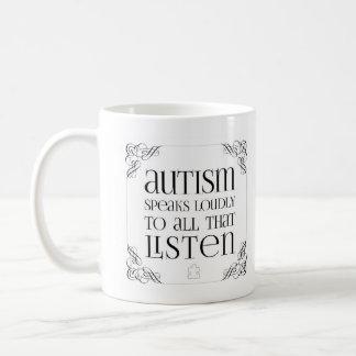 自閉症はコーヒー・マグを声高に話します コーヒーマグカップ