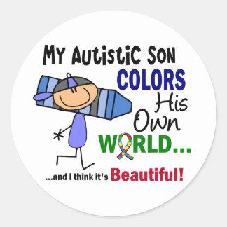 自閉症は彼自身の世界の息子を着色します ラウンドシール