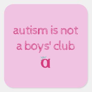 自閉症は男の子のクラブ不完全なステッカーではないです スクエアシール