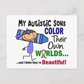 自閉症色自身の世界の息子 ポストカード