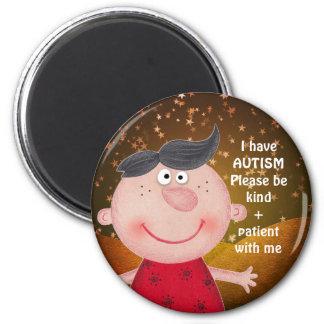 自閉症AWARNESSの折りえりの甘い男の子の星 マグネット