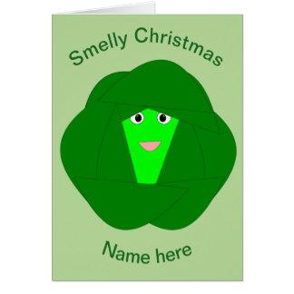 臭いクリスマスの芽キャベツのおもしろカード カード