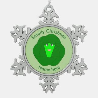 臭いクリスマスの芽キャベツのオーナメント スノーフレークピューターオーナメント