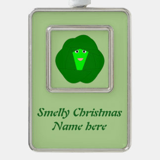 臭いクリスマスの芽キャベツのカスタムなオーナメント シルバープレートフレームオーナメント