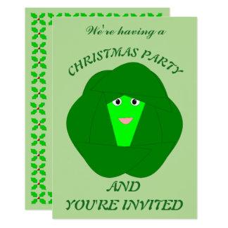 臭いクリスマスの芽キャベツのカスタムの招待 カード