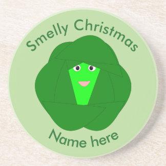 臭いクリスマスの芽キャベツのコースター コースター