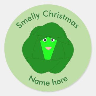 臭いクリスマスの芽キャベツのステッカー ラウンドシール