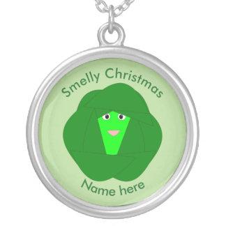 臭いクリスマスの芽キャベツのネックレス シルバープレートネックレス