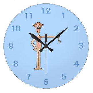 臭いソックスを持つ漫画猿 ラージ壁時計