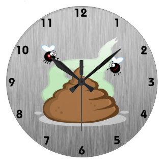 臭いPoo; 金属一見 ラージ壁時計
