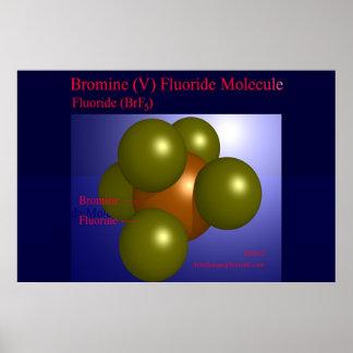 臭素(v)のフッ化物の分子(プリント) ポスター