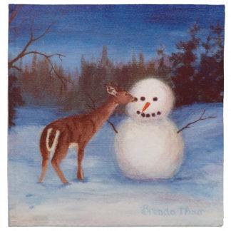 興味のシカおよび雪だるまのナプキン ナプキンクロス