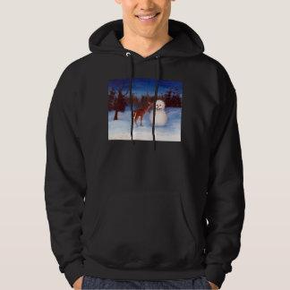 興味のシカおよび雪だるまのフード付きのスエットシャツ パーカ