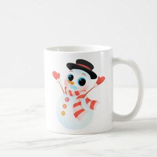 興奮するかわいい雪だるま コーヒーマグカップ