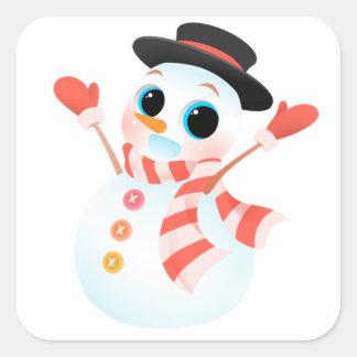興奮するかわいい雪だるま スクエアシール