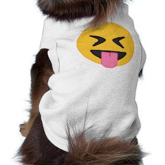 舌のEmoji犬のワイシャツ 犬用袖なしタンクトップ