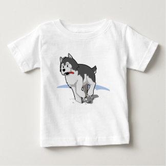 舌を搭載する雪のシベリアンハスキーのランニング ベビーTシャツ