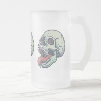 舌を突き出るスカル フロストグラスビールジョッキ