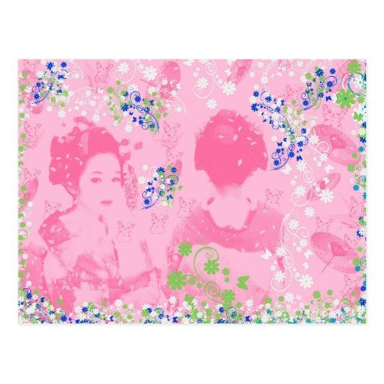 舞妓と花と招き猫 ポストカード