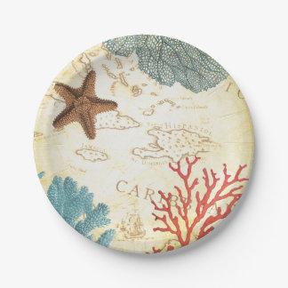 航海のでカリブのなヒトデの素朴な地図および珊瑚 ペーパープレート