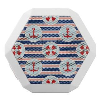 航海のでストライプなおよびドット・パターン ホワイトBluetoothスピーカー