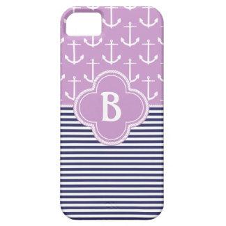 航海のでストライプな及びいかりのモノグラム薄紫及び海軍 iPhone SE/5/5s ケース