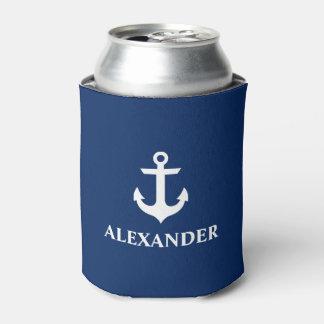 航海ので名前入りな一流のいかりの濃紺 缶クーラー