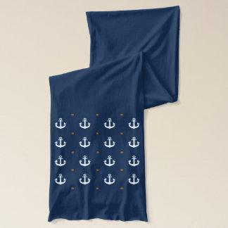 航海ので白いいかりパターン スカーフ