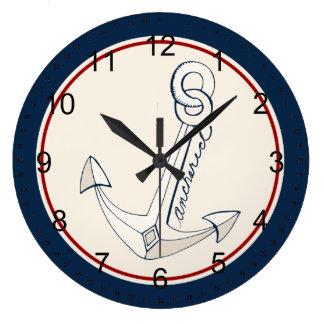 航海ので白いいかり ラージ壁時計