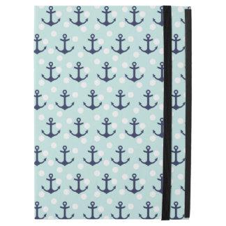 """航海ので真新しい水玉模様および濃紺のいかり iPad PRO 12.9"""" ケース"""