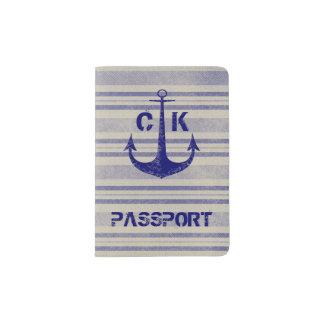 航海ので素朴ないかり旅行モノグラム パスポートカバー