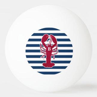 航海ので赤いロブスターのモノグラムの青い白のストライプ 卓球ボール