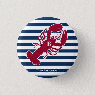 航海ので赤いロブスターのモノグラムの青い白のストライプ 3.2CM 丸型バッジ