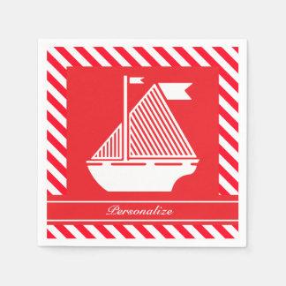 航海ので赤い及び白のストライプ| DIY色 スタンダードカクテルナプキン