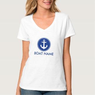 航海ので青いいかりあなたのボートの名前のTシャツのV首 Tシャツ