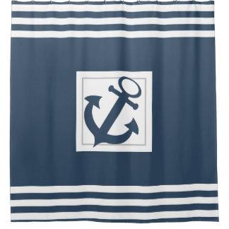 航海ので青いいかりおよびストライプ シャワーカーテン
