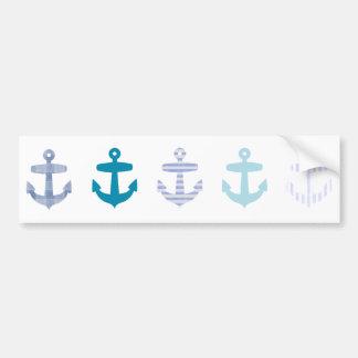 航海ので青いいかりのデザイン バンパーステッカー