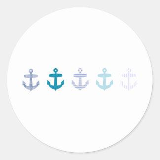 航海ので青いいかりのデザイン ラウンドシール