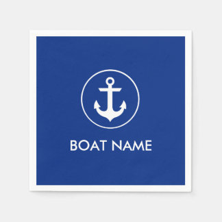 航海ので青いいかりのボートの名前のカクテルのナプキン スタンダードカクテルナプキン