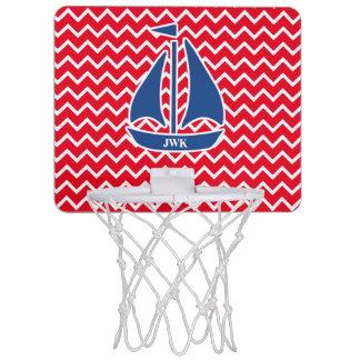 航海ので青いヨットのカスタムなシェブロンパターン ミニバスケットボールゴール