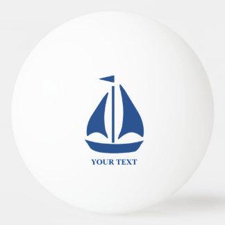 航海ので青いヨットのプレッピーな名前入り 卓球ボール