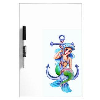 航海ので青いレトロの人魚の女性 ホワイトボード