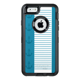 航海ので青い白のストライプのいかりのデザイン オッターボックスディフェンダーiPhoneケース