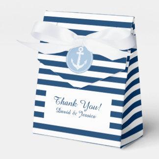航海ので青および白のストライブ柄の結婚式の引き出物箱 フェイバーボックス