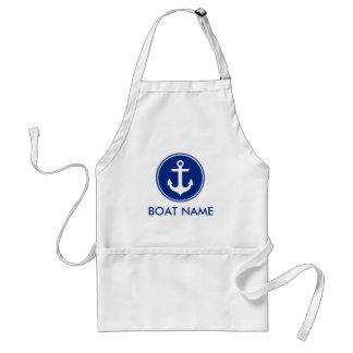 航海ので青く白いいかりの名前入りなボートのエプロン スタンダードエプロン