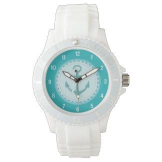 航海のないかりのティール(緑がかった色)の水のスポーティな腕時計 腕時計