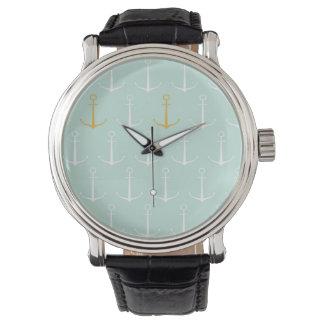 航海のないかりのプレッピーでガーリーで青いいかりパターン 腕時計